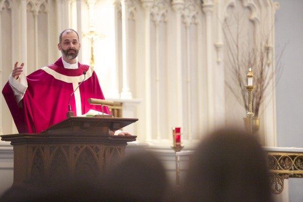 The Rev. Seamus Griesbach conducted Mass last year for the start of Lent and Ash Wednesday at St. John Catholic Church in Bangor.