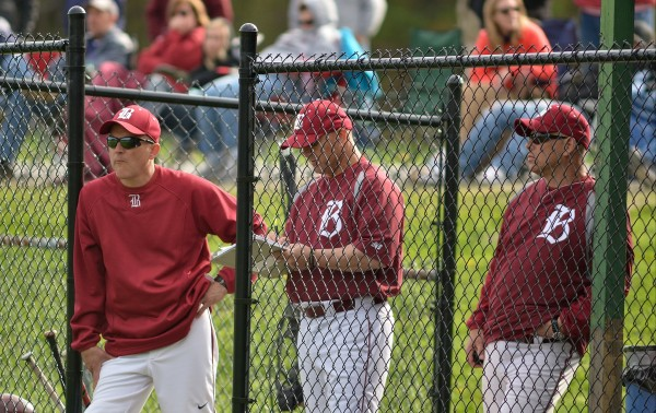 Bangor High School head baseball coach Jeff Fahey watches his team against Messalonskee High School in Oakland recently.