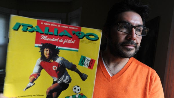 Stefano Tijerina - originally from Colombia - is a history professor teaching at the University of Maine and Husson University. He is pictured with the sticker album issued for the 1990 World Cup that featured the legendary Colombian goalie Rene Higuita on the cover.
