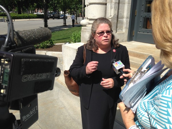 Portland city attorney Trish McAllister talks to reporters outside the federal courthouse in Portland Thursday afternoon after oral arguments in a case about the city's 39-foot no-protest zone around the local Planned Parenthood clinic.