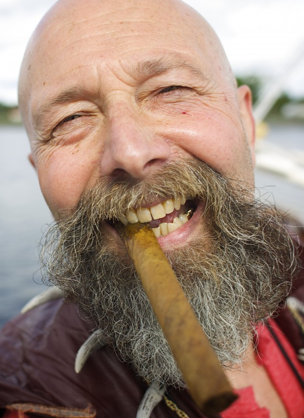 Kip &quotJack Lash Lannagin&quot Nelson laughs with a cigar after docking the Dark Rose pirate ship Friday afternoon on the Bangor Waterfront.