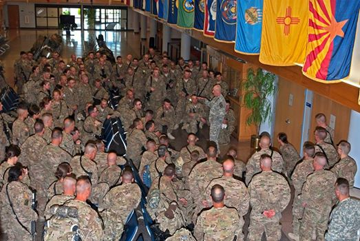 Brig. Gen. James Campbell welcomes back the Maine Army National Guard's 133rd Engineer Battalion on Saturday.