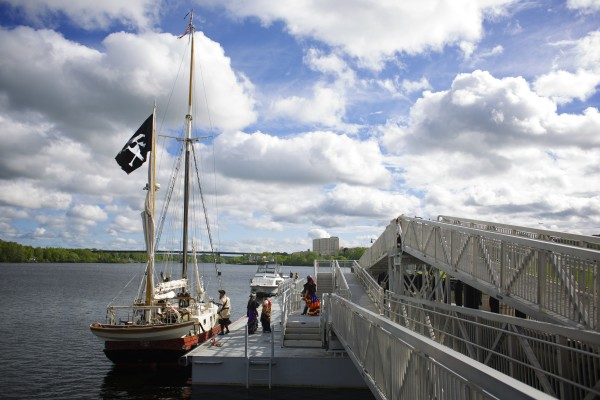 The Dark Rose pirate ship sailed into the Bangor Waterfront carrying a boatload of pirates.