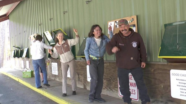 City employees and customers dance at the Belfast transfer station to the song &quotHappy.&quot They're part of a music video that will have its premiere Friday, June 13, at the Colonial Theatre in Belfast.