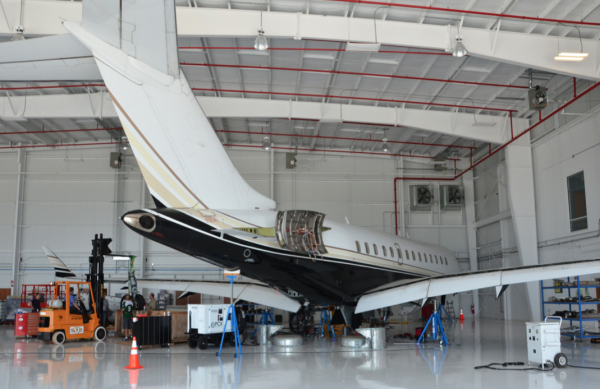 Tempus Jets Bombardier Global Express undergoing maintenance in the Newport News, Virginia, repair station, which will move to Brunswick, Maine.