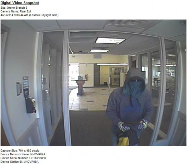 A surveillance system image from the April 2014 robbery of the Bangor Savings Bank on Park Street in Orono.