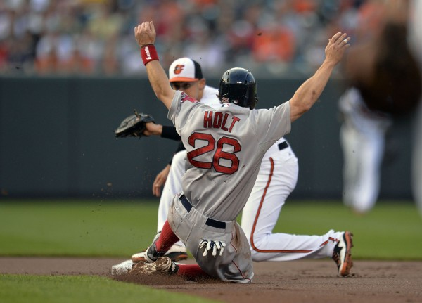 Boston's Brock Holt (26) is caught stealing second base as Baltimore Orioles second baseman Ryan Flaherty (3) makes the play in the first inning at Oriole Park at Camden Yards in Baltimore Monday night.