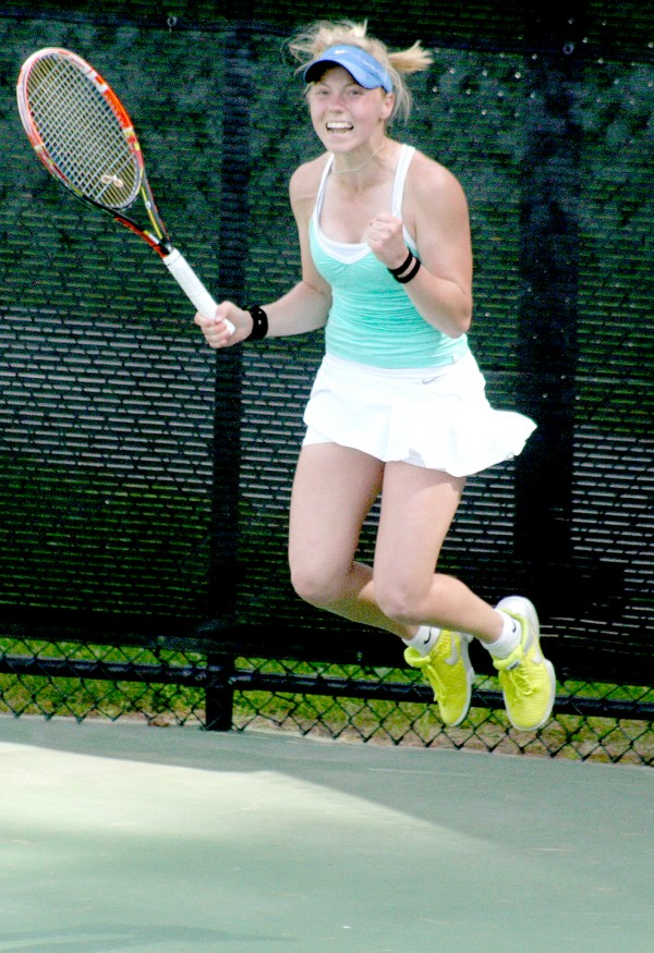 Olivia Leavitt of Falmouth celebrates after winning the 2014 MPA girls' singles championship at Bates College in Lewiston on Monday.