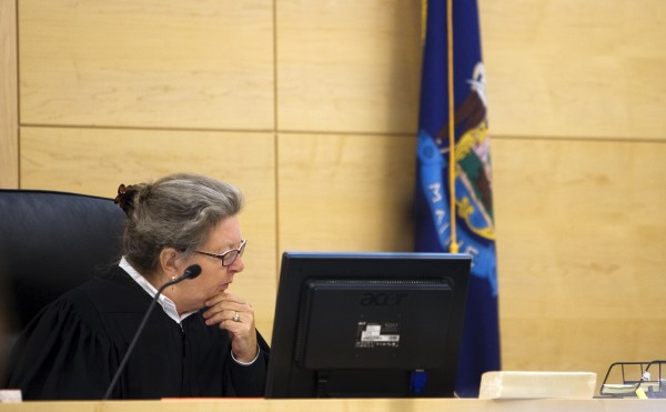 Superior Court Justice Ann Murray listens to the evidence for the charges against John D. Harmon Jr., 28, of Dover-Foxcroft, Thursday at the Penobscot Judicial Center.
