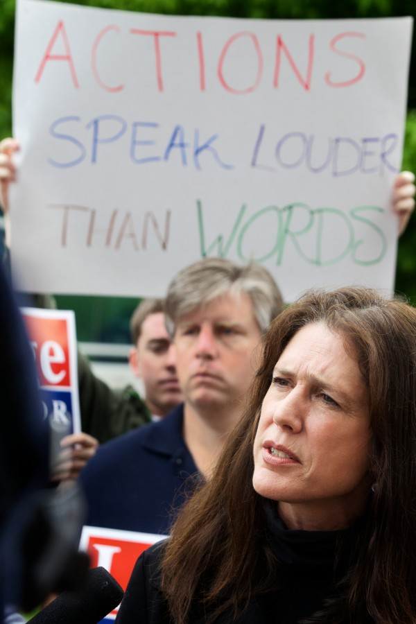 Rep. Deborah Sanderson, R-Chelsea,  speaks outside the State House on Thursday in response to U.S. Rep. Mike Michaud's campaign plan to create an Office of Inspector General.