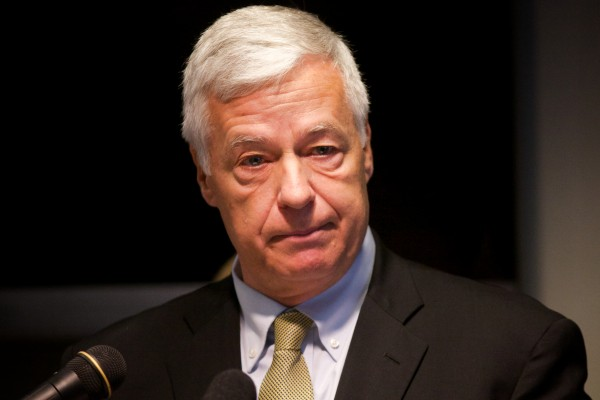 "U.S. Rep. and Democratic gubernatorial candidate Mike Michaud unveils his campaign plan to create an Office of Inspector General to fight ""waste, fraud and abuse"" in the Department of Health and Human Services in Augusta on Thursday."