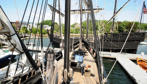 Replicas of the Nina (left) and Pinta docked in Camden Harbor on Tuesday. They are maintained as a traveling museum to show people what life was like aboard ship during Christopher Columbus' expedition to America in 1492. They will remain in Camden until the July 1.