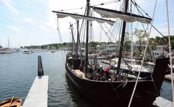 Replicas of the Nina and Pinta (not shown) docked in Camden Harbor on Tuesday. The two vessels, which are nearly identical to the ships Christopher Columbus used to sail to America more than 500 years ago, are traveling museums that visit as many as 30 harbors each year. They will be docked in Camden until July 1.