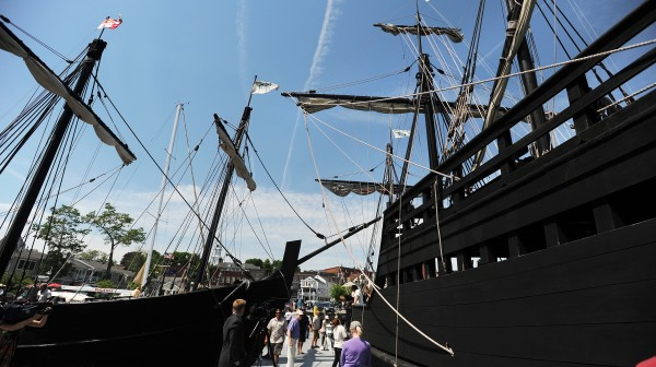 Replicas of the Nina (left) and the Pinta docked in Camden Harbor on Tuesday. They are maintained as a traveling museum to show life aboard the ships during Christopher Columbus' expedition to America in 1492. They will remain in Camden until July 1.