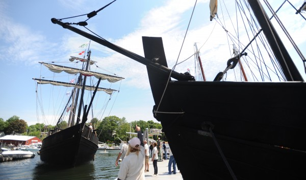 The Pinta (left) approaches the dock in Camden on Tuesday morning after the Nina docked. They are replicas of two of the ships Christopher Columbus used when he sailed to America in 1492. The vessels are traveling museums that visit as many as 30 harbors each year. They will be docked in Camden until July 1.