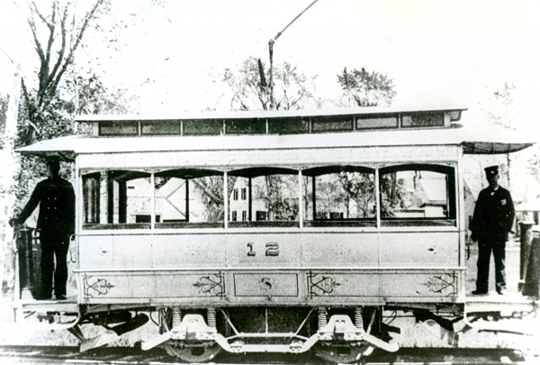 Bangor''s first trolley car is shown in this 1889 photo.