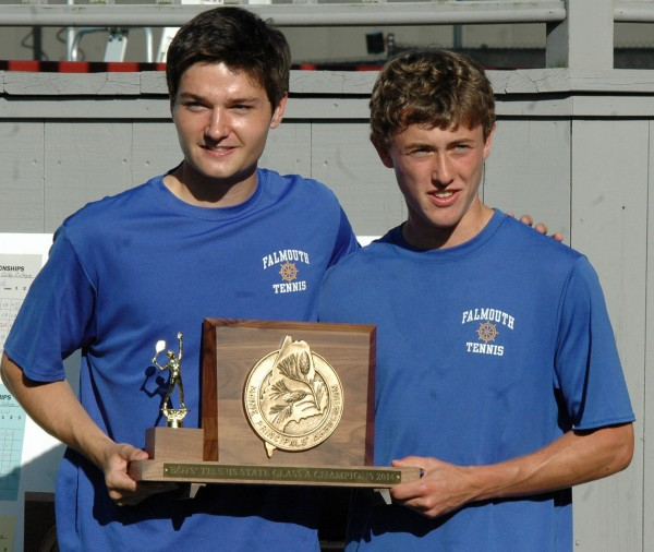 Falmouth High School tennis captains Justin Brogan, left, and Brendan McCarthy receive the State Class A Championship trophy on Monday at Bates College in Lewiston after downing Mount Ararat, 3-2.