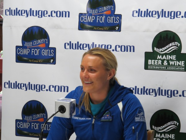 Julia Clukey said she would compete in the luge for one more year during a press conference held Tuesday in Readfield.