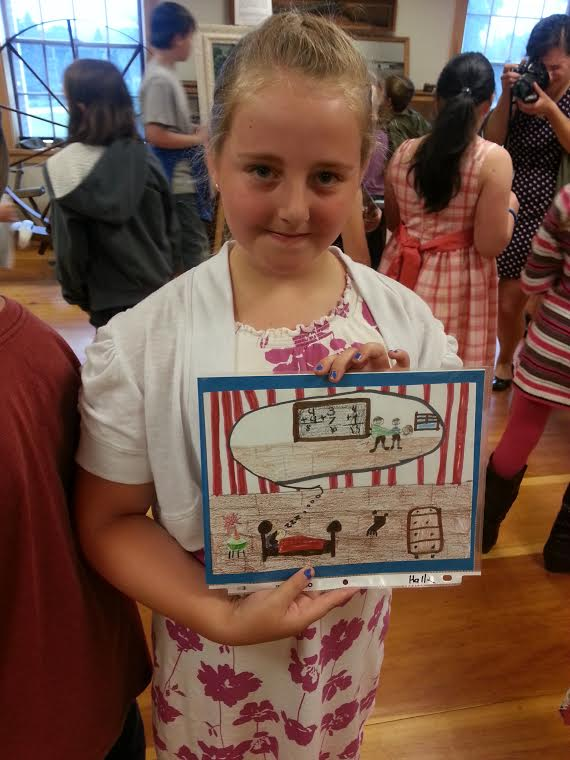 Eight-year-old Halle Tripp enjoyed reading the 1880s diary of Josephine Tripp, a teenage schoolteacher from her town of Searsmont. The third graders at the Ames Elementary School illustrated portions of Tripp's diary, including Halle's picture of a bad dream the schoolteacher had of being thrown out the window by two big boys. &quotI really like history,&quot Halle said.