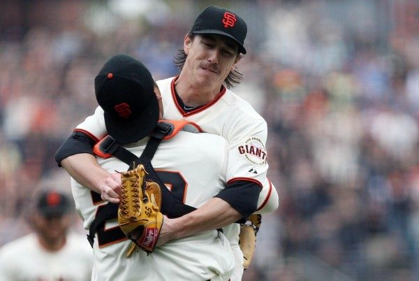 San Francisco Giants starting pitcher Tim Lincecum (55) hugs catcher Hector Sanchez (29) after throwing a no-hitter against the San Diego Padres on Wednesday at AT&T Park. The Giants beat the Padres 4-0.