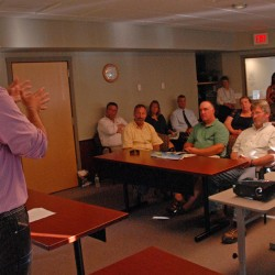 Lucas St. Clair speaks during a meeting of the Lincoln Lakes Region Chamber of Commerce on Wednesday.