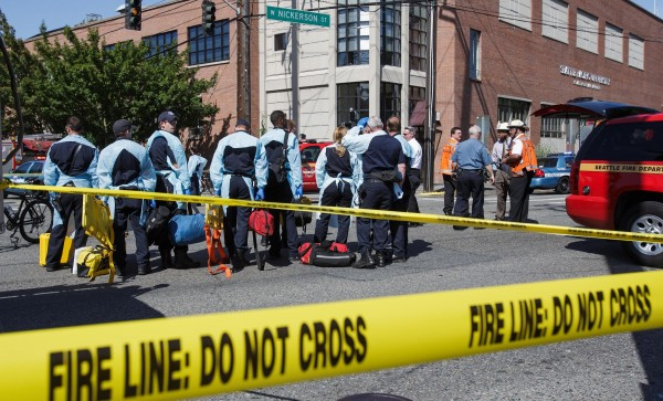 The scene near a shooting on the Seattle Pacific University campus on Thursday, June 5, 2014, in Seattle. Officials say there are multiple victims,  and a suspect is in custody.