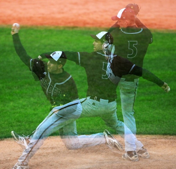 BANGOR, MAINE -- 06/17/14 -- (Multiple exposures done in camera) Washington Academy's Gage Feeney pitches to George Stevens Academy during their Eastern Maine Class C baseball final at Mansfield Stadium Tuesday. Washington Academy won 3-0.
