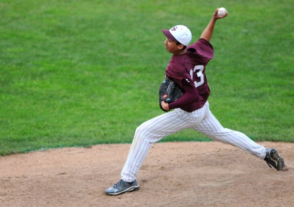 BANGOR, MAINE -- 06/17/14 -- George Stevens Academy's Kelsey Allen pitches to Washington Academy during their Eastern Maine Class C baseball final at Mansfield Stadium Tuesday. Washington Academy won 3-0.