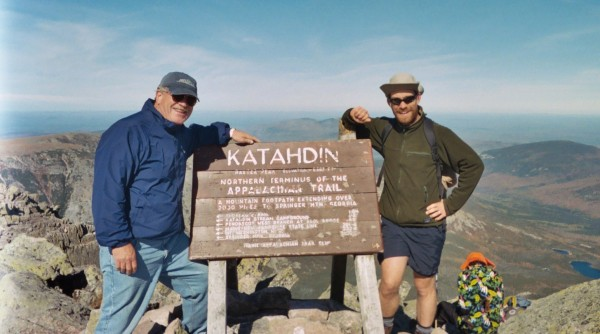 Jack Kelley (left) with his son, Robert, on top of Katahdin in 2004.