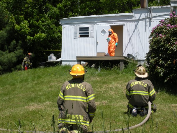 Maine drug agents and the Department of Environmental Protection seized evidence at an alleged meth lab in Newfield on Tuesday afternoon.