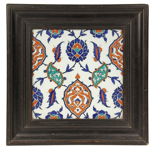 17th Century or earlier Iznik (Turkish) architectural tile that sold for $39,100 at Thomaston Place Auction Galleries