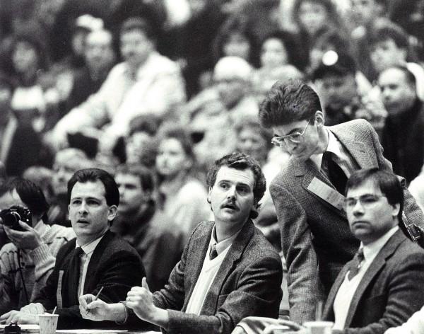 1990:  BDN Sports staff members Pete Warner, Joe McLaughin and Andy Neff (standing)