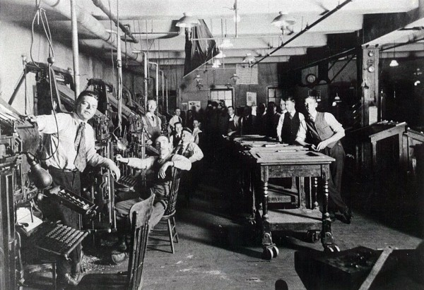 1920: The composing room at the BDN