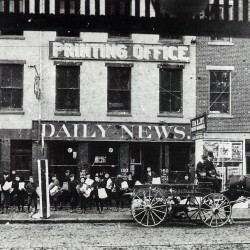 1905: Carrier boys line up in front of the original home of the BDN on 150 Exchange St.