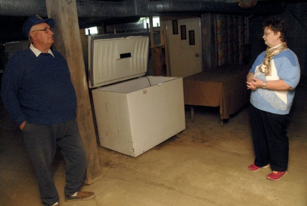 Charles and Diana Harriman stand in the basement of the Congregational Church of Topsfield. The two say they closed the food pantry on June 17 due to a burglary reported on May 30.
