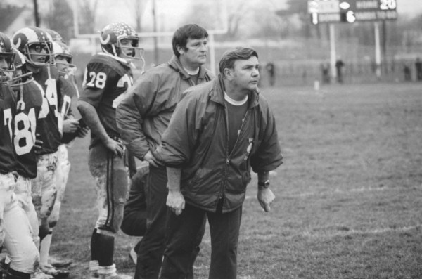 Bangor coach Gerry Hodge directs the Bangor High School football team from the sidelines on Nov. 8, 1975.