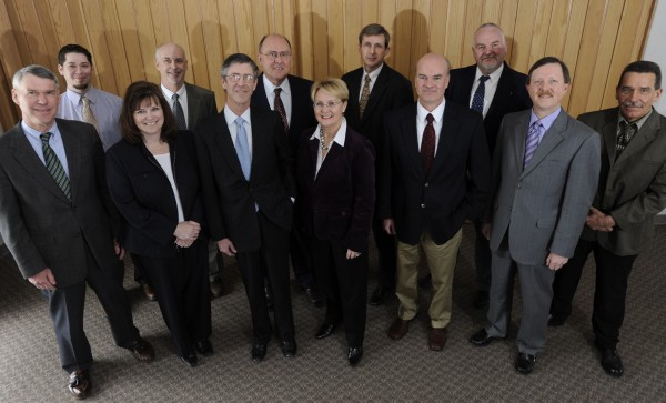 2010: This is a portrait of the Bangor Daily News management team. Members are, left to right, Mike Kearney, Jason Oliver, Jennifer Holmes, Jim Hayes, Publisher Richard K. Warren, Robert Stairs, Elizabeth Hansen, Todd Benoit, Mike Dowd, Don Corey, Tim Reynolds, and Charlie Villard.