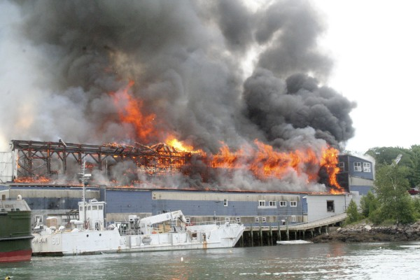 2008: A fire rips through the Washburn & Doughty commercial boatyard in East Boothbay