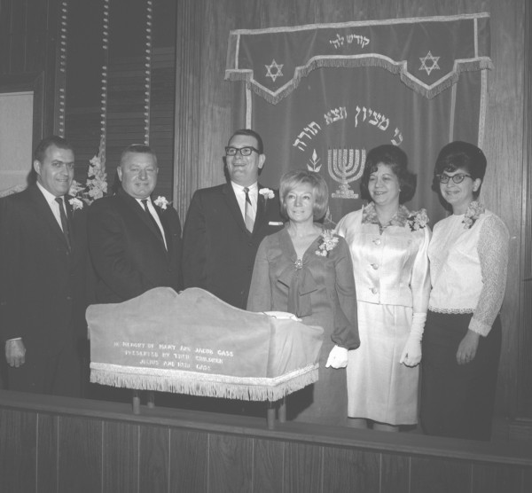 Beth Abraham Sisterhood celebrated its 25th anniversary in 1965 with a program at the synagogue. Participating were (from left) Al Bernstein, brotherhood president; Louis Rolnick, synagogue president; Rabbi Henry J. Isaacs; Mrs. Peter Gotlieb, program chairwoman; Mrs. Louis Striar, sisterhood president; and Mrs. Henry Isaacs, anniversary journal chairwoman.
