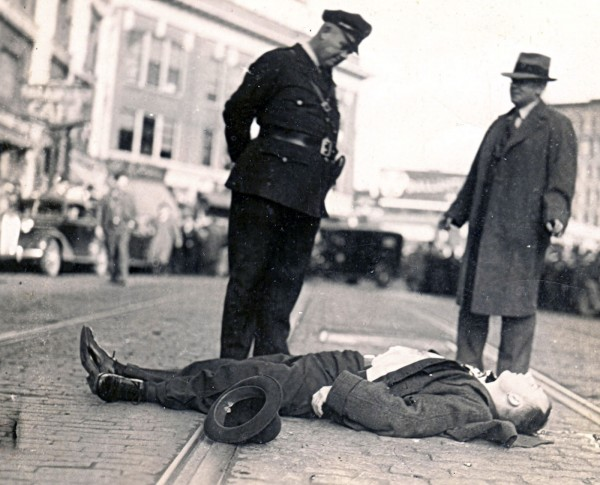 1937: Public Enemy Al Brady is shot by an FBI agent in downtown Bangor