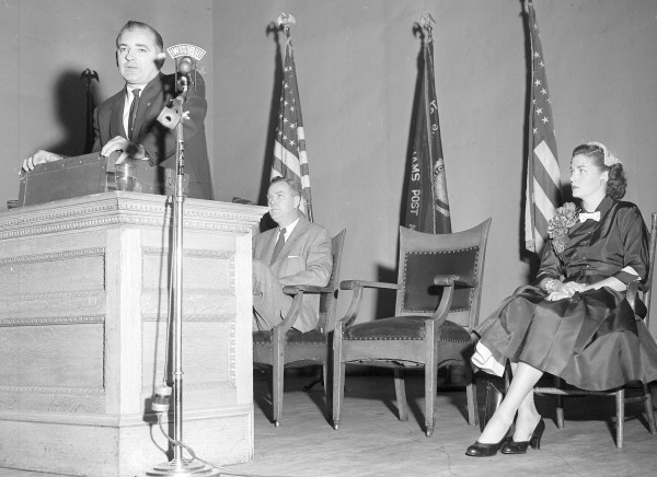 1953: Senator Joseph McCarthy speaks to a packed house at Bangor City Hall about communism