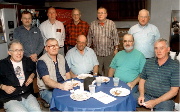 Bangor Daily News composing room crew. Rear, left to right: Phil Joyce, Al Wildes, John Palmer, Rod Giddings, Ray Willette. Front, left to right: George Russell, Carrol Harlow, Bob Higgins, Lloyd Stinson, George Doughty.