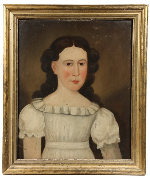 Circa 1830 oil on panel Prior-Hamblin School portrait of a young girl that fetched $16,100 at Thomaston Place Auction Galleries