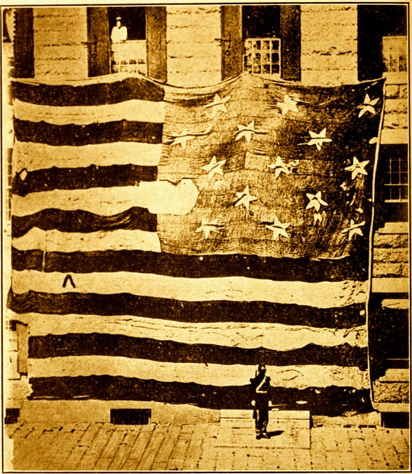 Image: Flag that flew over Fort McHenry in 1814, photographed in 1873 in the Boston Navy Yard by George Henry Preble. Presentation by Dave Martucci, Wed. July 2, at 7:30, Old Town House, Union.