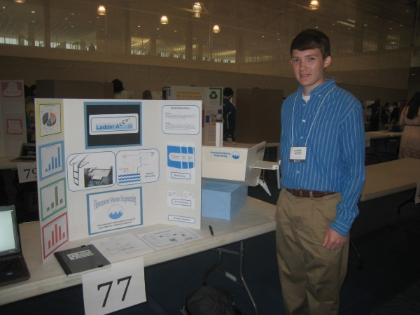 Hermon Middle School student Andrew Howes took third place in the eighth-grade division of the Maine Invention Convention state competition, held at the University of Maine, for a safety device he developed which would sound an alarm if a boat's swim ladder is left down.