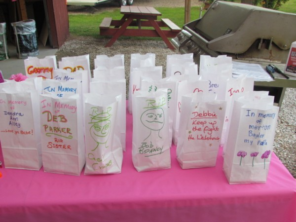 some of the luminary bags that were decorated.