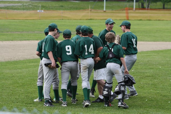 A mid-game pep talk by Coach Wayne Littlefield got the boys back on track after getting behind early in the game.