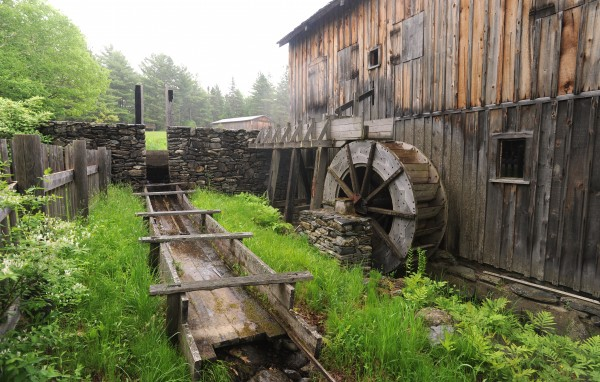 A water wheel powers the sawmill at the Maine Forest and Logging Museum in Bradley.