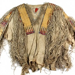 Northern Plains Indian Hidatsa buckskin shirt with quill and seed decoration that sold for $115,000 at Thomaston Place Auction Galleries