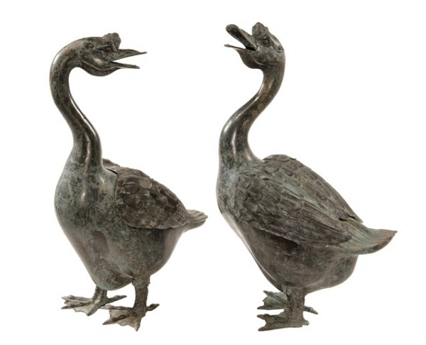 Pair of 20th Century Chinese bronze life-size garden figures of geese from the estate of Brooke Astor that brought $12,650